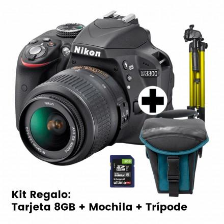 Nikon D-3300 + AF-P 18/55 DK L MC + AF-S DX VR 55/200 F-4-5.6 + Kit Regalo