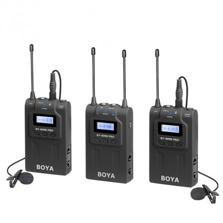 Boya Kit Micrófono inalámbrico UHF Pro Boya 2TX+1RX (MW8 PRO K2)